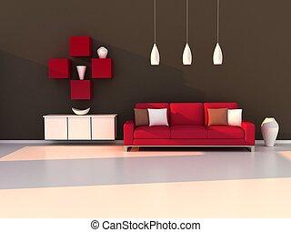 客厅, 现代的房间