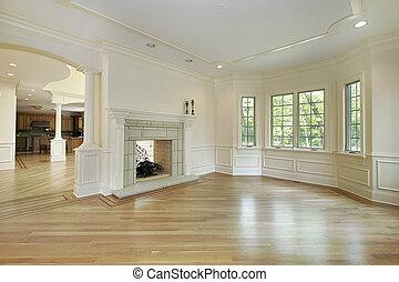 客廳, 在, 新, 建設, 家