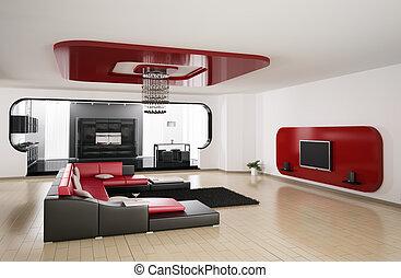 客廳, 廚房, 3d, render