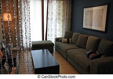 客廳, 房子, 內部, -, 新的家