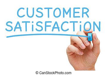 客戶滿意度, 手寫, 由于, 藍色, 記號