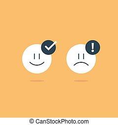 客户, emoji, 反馈, 相反, 悲哀, 调查, 服务, 感情, 图标, 微笑