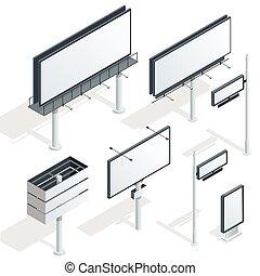 宣伝しなさい, イラスト, 等大, ベクトル, 都市, infographic., ライト, 平ら, 3d, 広告板, billboard.