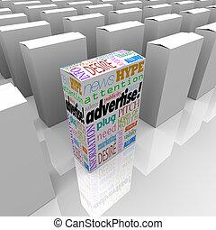 宣伝しなさい, 棚, 店, 独特, 箱, 言葉, マーケティング
