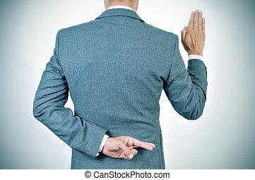宣誓, 悪口を言う, 彼の, 若い, 背中, 指, 交差, 人