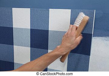 室內裝潢師, 懸挂, 牆紙, 由于, 工作工具, 在運動中