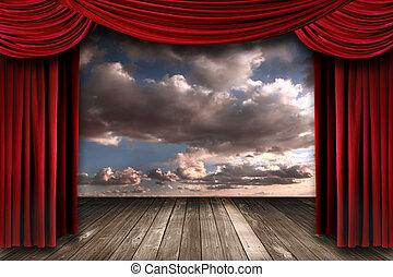 室內, perormance, 階段, 由于, 紅色, 天鵝絨, 劇院, 帘子