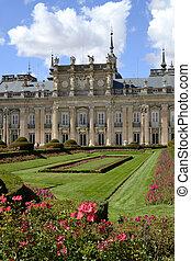 宫殿, 花园, 同时,, 花, 在中, 前景