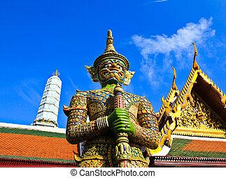 宮殿, 保護者, phra, バンコク, 像, 壮大, ワット, kaew