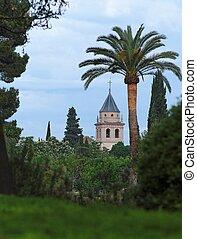 宮殿, 教会, 見られた, 庭, alhambra
