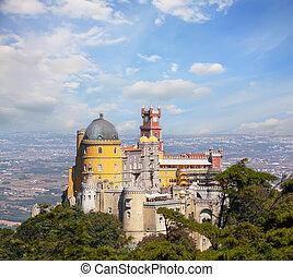 宮殿, 旅行, portugal., da, sintra, lisbon., 光景, pena., ヨーロッパ