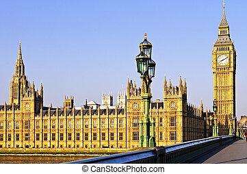 宮殿, ......的, westminster, 從, 橋梁