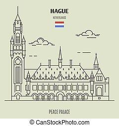 宮殿, hague, 平和, ランドマーク, netherlands., アイコン