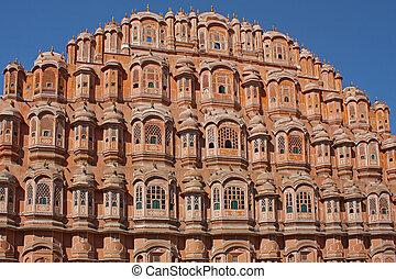 宮殿, jaipur, mahal, インド, hawa, rajasthan, 風