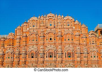 宮殿, jaipur, mahal, hawa, india., rajasthan, 風