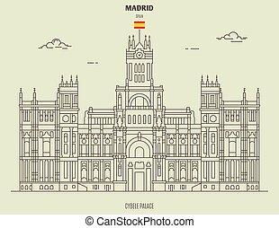 宮殿, spain., マドリッド, ランドマーク, cybele, アイコン