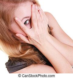害羞, 害怕, 婦女, 偷看, 透過, 手指, isolated.