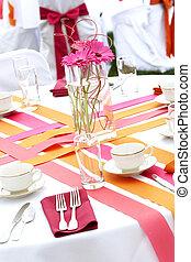 宴会, の間, 結婚式, 楽しみ, セット, テーブル, でき事, 食事をする