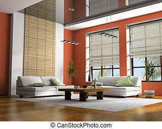 家に 内部, ∥で∥, テーブル, そして, ソファー, 3d, レンダリング