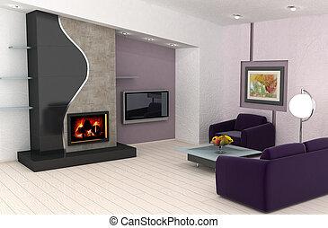家に 内部, デザイン