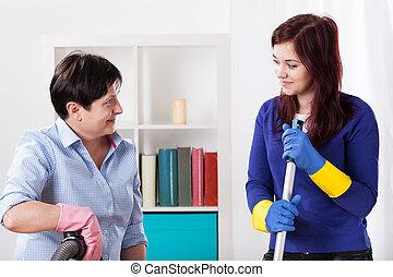 家のクリーニング, 女性