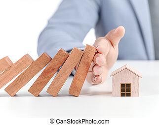 家の 保険, 概念, 木製のモデル, 家