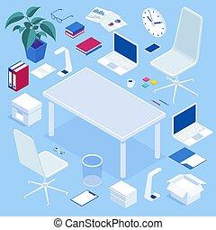 家具, アイコン, 部屋, 等大, オフィス, あなたの, 広告, 旗, セット, 大きい, set., 作成しなさい, presentations., ウェブサイト