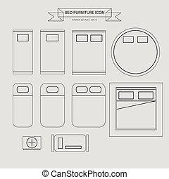 家具, アウトライン, ベッド, アイコン
