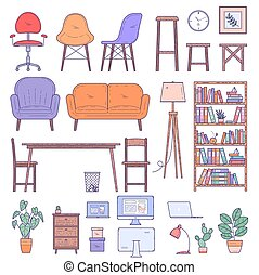 家具, オフィス, 平ら, 家, デザイン