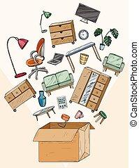 家具, オフィス, 移動オフィス, 箱, 再配置, 家