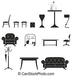 家具, シルエット, セット