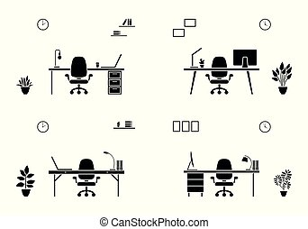 家具, シルエット, 隔離された, オフィス, アイコン