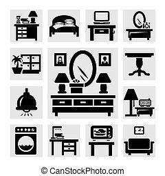 家具, セット, アイコン