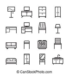 家具, セット, アウトライン, アイコン
