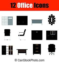 家具, セット, オフィス, アイコン