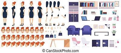家具, セット, オフィス, 女の子, コンストラクター, 上司