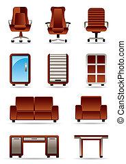 家具, セット, ビジネスオフィス, アイコン