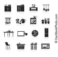 家具, セット, 台所, アイコン