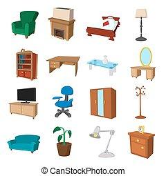 家具, セット, 漫画, アイコン