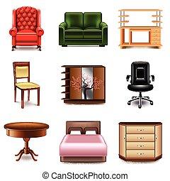 家具, ベクトル, セット, アイコン