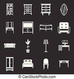 家具, ベクトル, セット, 灰色, アイコン