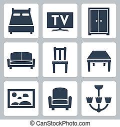 家具, ベクトル, セット, 隔離された, アイコン