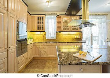 家具, 台所, 贅沢, ベージュ