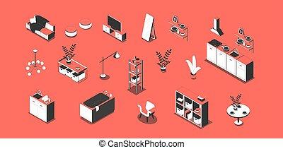 家具, 等大, アパート, セット