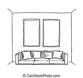 家具, sketch., 手, 引かれる, インテリア・デザイン, ベクトル