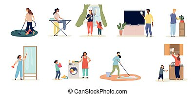 家务劳动, 人们, 放置, scenarios, 9