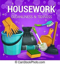 家务劳动, 家, 打扫, 工具