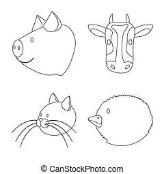 家屋敷, 株, 手製, ベクトル, デザインを設定しなさい, web., シンボル, シンボル。, 食物