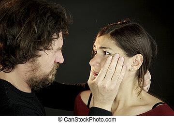 家庭内暴力, 若い女性, おびえさせている, の, ひどく, 人
