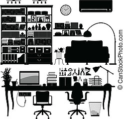 家庭办公室, 图书馆, soho, 矢量